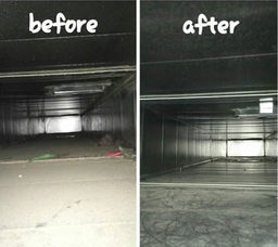 Duct cleaning before and after picture of residential air duct to show quality of work.