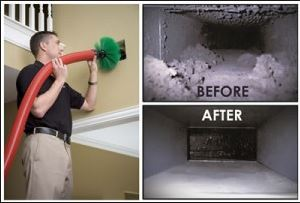 Picture of employee cleaning air ducts in a home in Toronto.